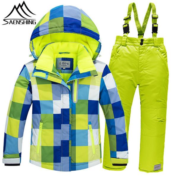 SAENSHING Ski Suit Kids Boys Super Warm Ski Jacket Snowboard Pants Breathable Windproof Winter Suit Girls Outdoor Snow Sets