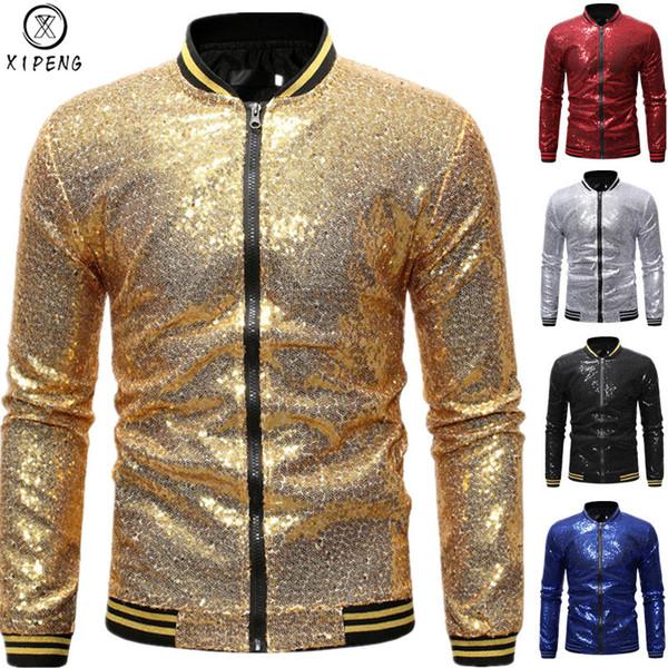 Mens Shiny Gold Sequin Bomber Jackets 2019 Brand New Sequins Baseball Jacket Men Club DJ Stage Singer Jacket Veste Homme XXL