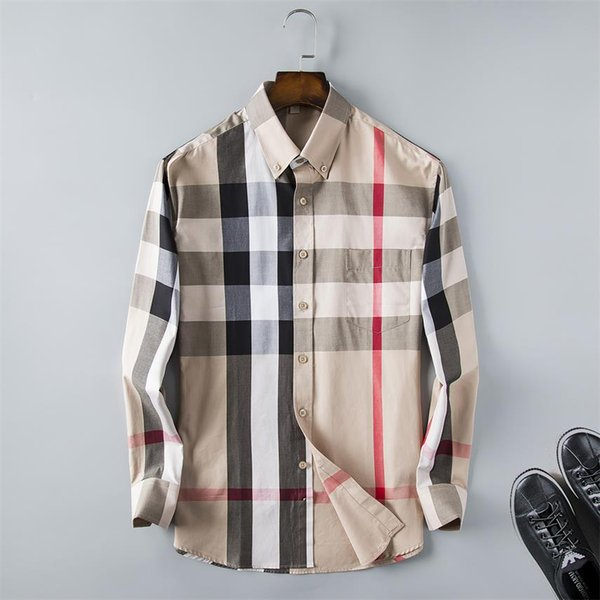 2019Mens Business Casual Shirt Herren Langarm Streifen schlanke Passform gesunde soziale Männer neue Mode kariertes Hemd # G010