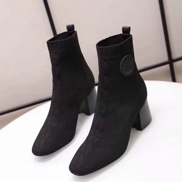2019 Woman Cashmere Boots Brand Designer Heels Shoes Sock Shoe Superstar Heels Boots Sheepskin Shoes Ladies Sock Shoe Eu:35-39 With box AMS6