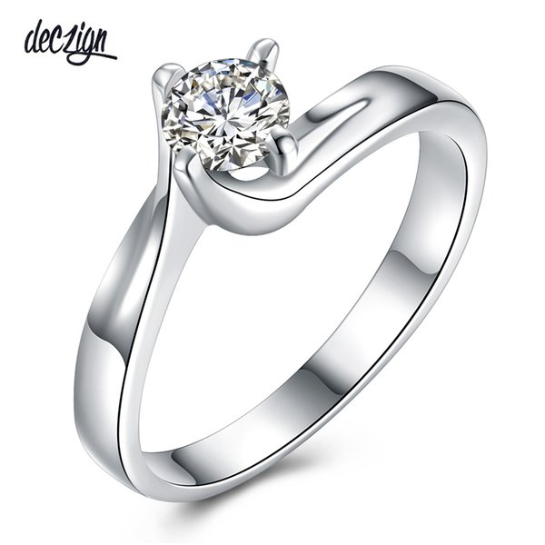 Deczign new Good Price! New Classic Propose Gift High Grade Cubic Zirconia Thin Wedding Band Engagement Ring SJ25986