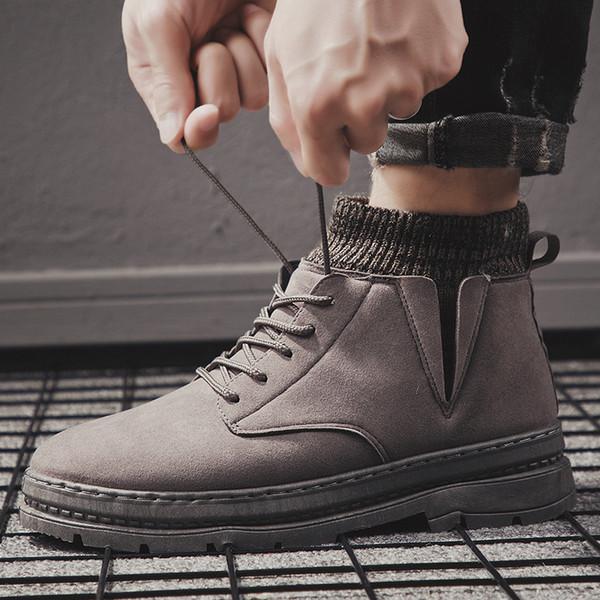 Moda Açık Spor Ayakkabı Erkekler Bilek Boots Bahar Ayakkabı Faxu Deri Ayakkabı Leisure Yüksek Kesim Kış Martin Boots Fall