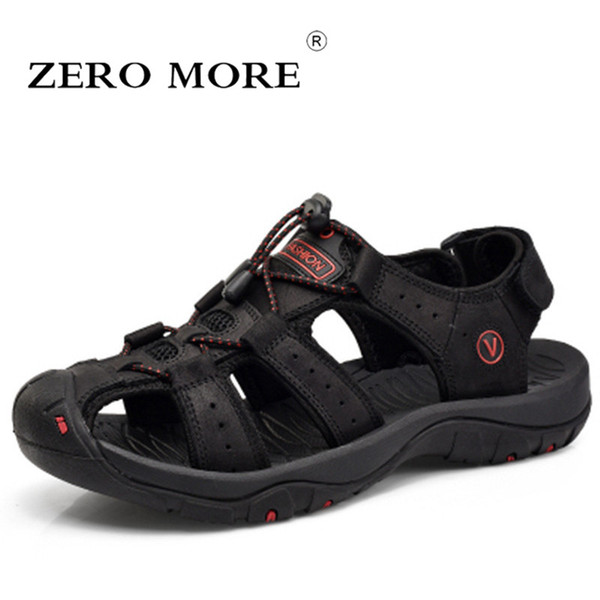 Billig Männer Atmungs Kuh Leder Sandalen Sommer Schuhe Hohe