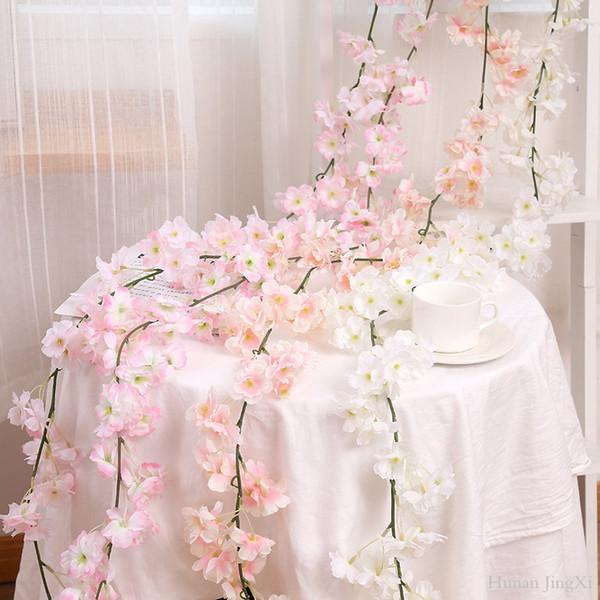 Belle 1.8m Haute Sakura Fleur de vigne Fleur rotin Aritifical fleur pour la maison et de mariage deocration