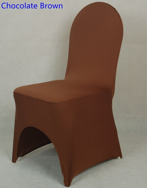 Chocolate brown colour lycra universal chair cover for wedding decoration spandex chair cover on sale banquet chair arch front open