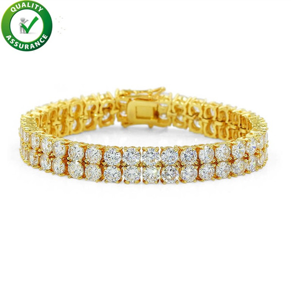 Luxury Designer Jewelry Mens Gold Bracelets 2 Rows Bangles Hip Hop Iced Out Diamond  Tennis Bracelet 3d5d2b8af