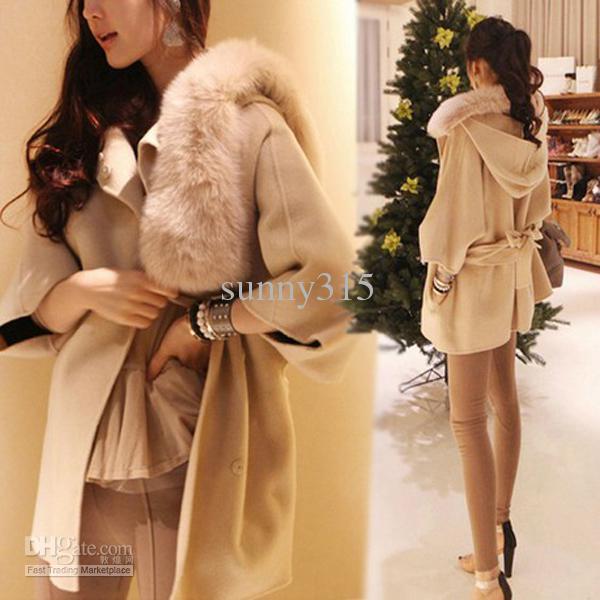 Frauen-Kleidung mit Kapuze Poncho Wollmantel Overcoat Cardigan Mantel Fellkragen Kapuze Outwear Wintermäntel