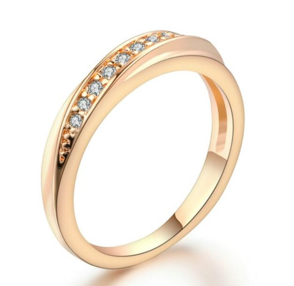 6 Items Classical Cubic Zirconia Lovers Ring Rose Gold Color Rhinestones Studded Wedding Rings Jewelry For Women Men R314 R317