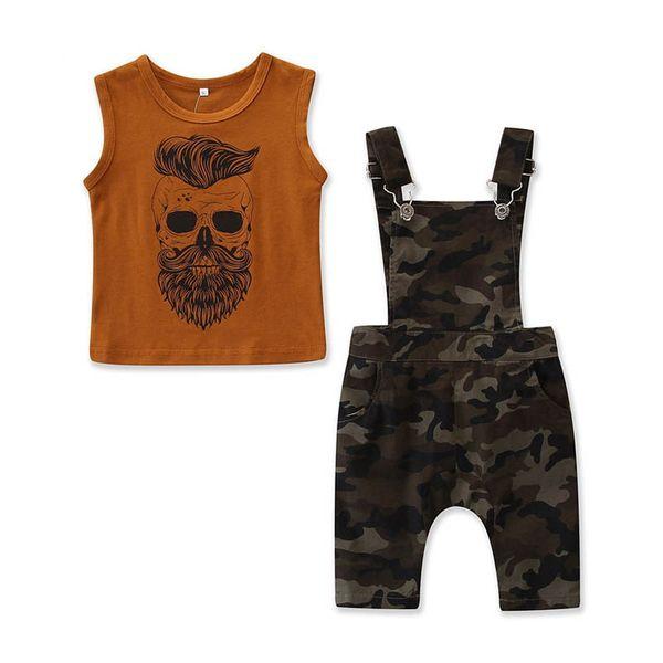 Ins Bebek Erkek Giyim Setleri Moda Yaz Erkek Takım Elbise Karikatür Yelek + Jartiyer Çocuk Kıyafetleri Çocuk Setleri çocuk giyim erkek giysileri A4704