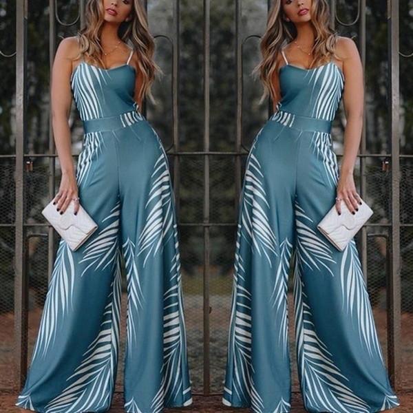 Blue Elegant Women High Waist Flared Jumpsuit 2019 New Spaghetti Strap Bell-Bottomed Pants Long Female Wide Leg Siamese Trousers