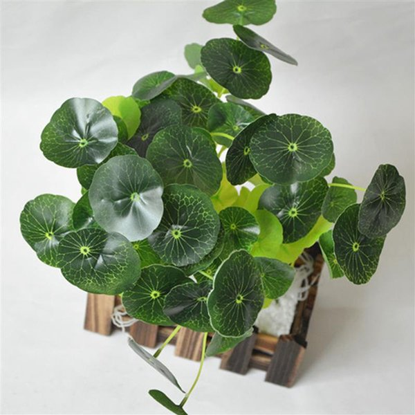 12 filiais flor grama plástica verde Lotus Folha de imitação Fern artificiais Folhas plantar capim Fish Tank Ornament Decor Novas