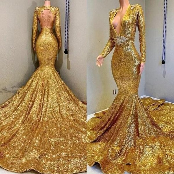 Gold Sequined Mermaid Prom Dreesses With Deep V Neck Backless Evening Dress Long Sleevess Sash Beads Count Train Celebrity Party Gowns