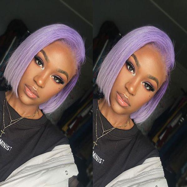 Purple Short Bob Lace Front Human Hair Wigs For Black Women Cheap Short Glueless Full Lace Wigs Bob Straight Brazilian Virgin Hair