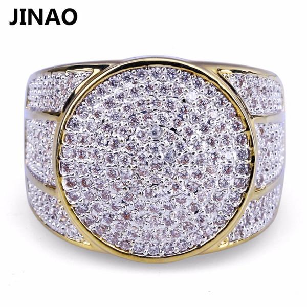 JINAO Hip Hop Kaya Buzlu Out Bling Takı Yüzük Altın Renk Mikro Açacağı Kübik Zirkon Yüzükler 7,8, 9,10,11 Erkek Hediyeler Için Beş Boyutları