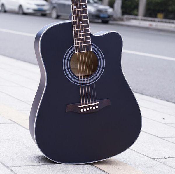 Fábrica 41 polegada iniciante guitarra acústica Basswood guitarra preto fosco canto prática piano fábrica por atacado