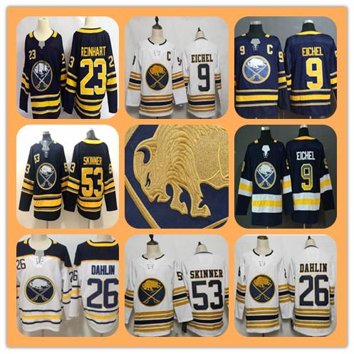 top popular 2020 Men's Buffalo Sabres 50th Golden Jersey Hockey 26 Rasmus Dahlin 9 Jack Eichel 53 Jeff Skinner 23 Sam Reinhart All Stitched Cheap 2019