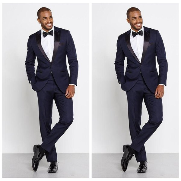 Tailor Made Navy Blue Peak Lapel 2020 Men Formal Suits Groomsmen Slim Grooms Tuxedos Two Pieces Wedding Business Suits (Jacket+Pants+Bow)