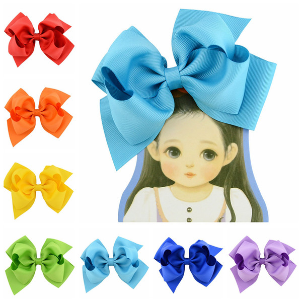 6INCH 6 Inch Double Stacked Hair Bow Solid Ribbon for Kids Girls Baby Boutique Hair Accessories with Clip Headwear B11