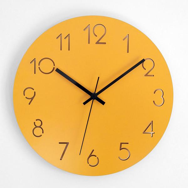 Orologio da parete in legno Design moderno Salotto Decorazione Appeso Orologi Orologio da parete in legno Home Decor Silent 12/15 pollici