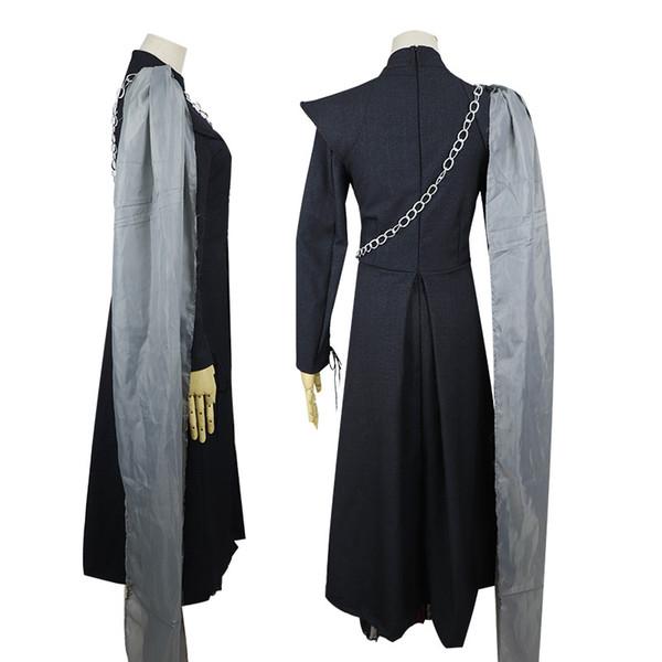 Designer Halloween Mulheres Roupa Game of Thrones 7 Daenerys Targaryen 3PCS Terno Vestidos Cosplay Adulto Carnival Costume S-2XL Atacado