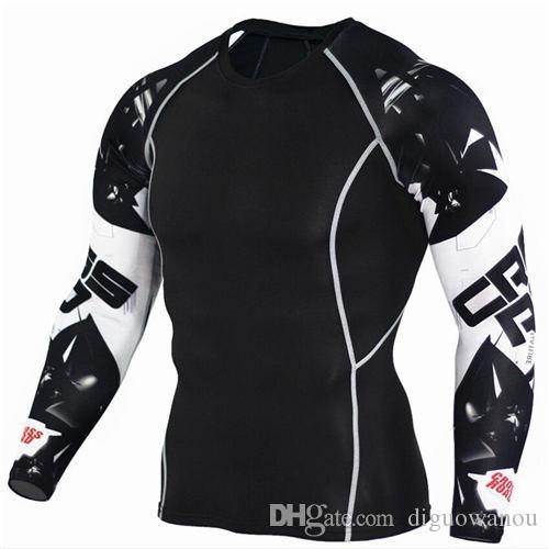 Trendler tişört Kurt 3D Baskılı Sıkıştırma Erkekler Fitness Egzersiz Koşu Gömlek Nefes Uzun Kollu Sport Rashgard yeni jimnastik Bisiklet Giyim