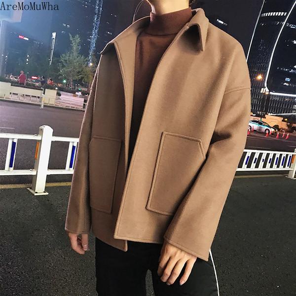 aremomuwha spring new woolen coat trend woolen coat men's short paragraph loose retro european and american style men's clothing