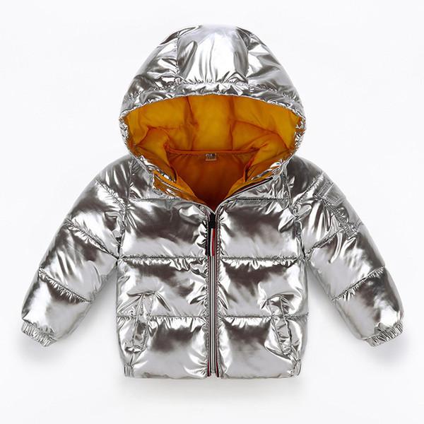 As crianças jaqueta de inverno para a prata banhado Crianças Meninos Casual no revestimento encapuçado roupa do bebê Casacos Crianças Parka Snowsuit Doorout 6Y 2019