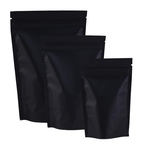100pcs/lot Matte Black/Silver/Black Mylar Foil Reclosable Stand Up Pouches Tear Notch Zip Lock Bag 3.25x5in/ 8.5x13cm