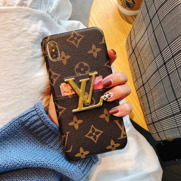 оптовые роскошные дизайнерские чехлы для телефона для iphone 6/7 / 8plus XS MAX / XR PU кожа с подставкой и слотом для карты квадратные Модные дизайнерские чехлы для телефона