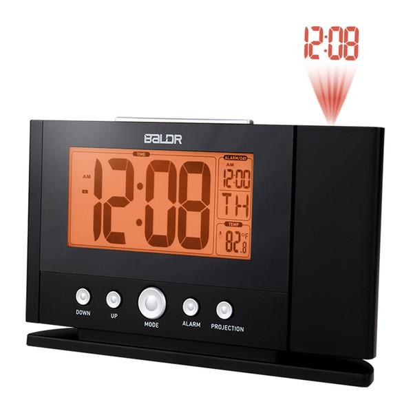 Atenção Projection Alarm Clock Digital Tempo LCD Snooze Alarm Clock Projeção Backlight Sino Temporizador Relógio Despertador KKA6913