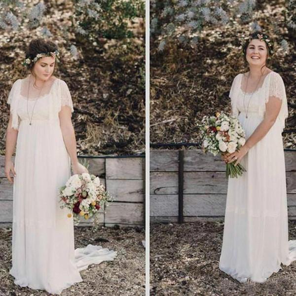 Simple Lace Square Neckline Wedding Dresses Maxi Sweep Train Plus Size Short Sleeves Bridal Gowns Romantic Bohemia Backless Bride Dress