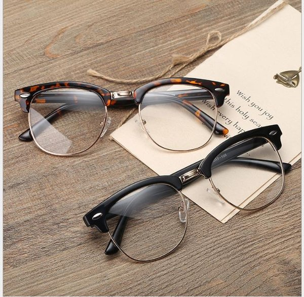 Literary and artistic retro spectacle frame gold-plastic mixed flat-light myopia spectacles universal spectacle frame for men and women