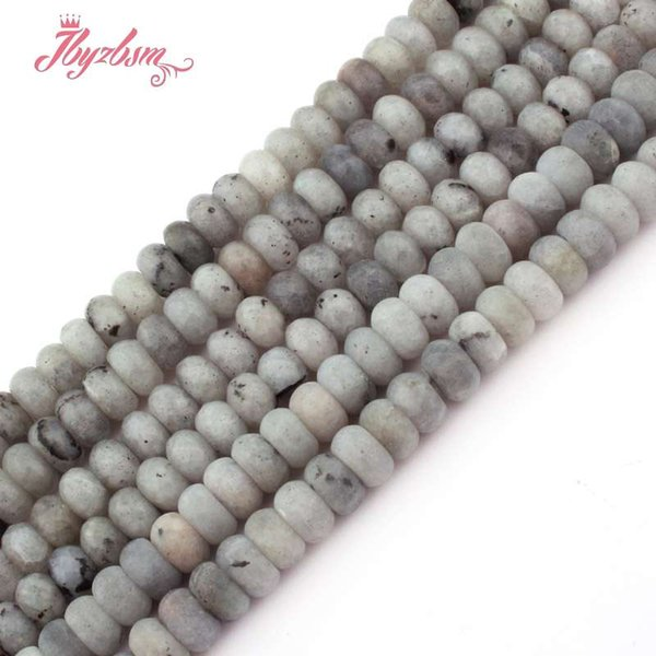 """3x6 4x8mm Smooth Matte Faceted Gray Labradorite Stone Rondelle Spacer Beads for DIY Bracelet Jewelry Making 15""""Free Shipping"""