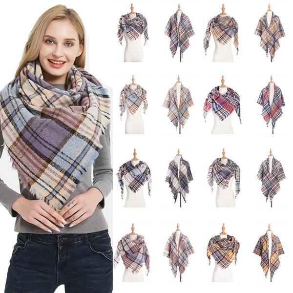 best selling Plaid Scarves Girls Check Shawl Grid Oversized Tassel Wraps Lattice Triangle Neck Scarf Fringed Pashmina Winter Neckerchief Blankets RRA1873