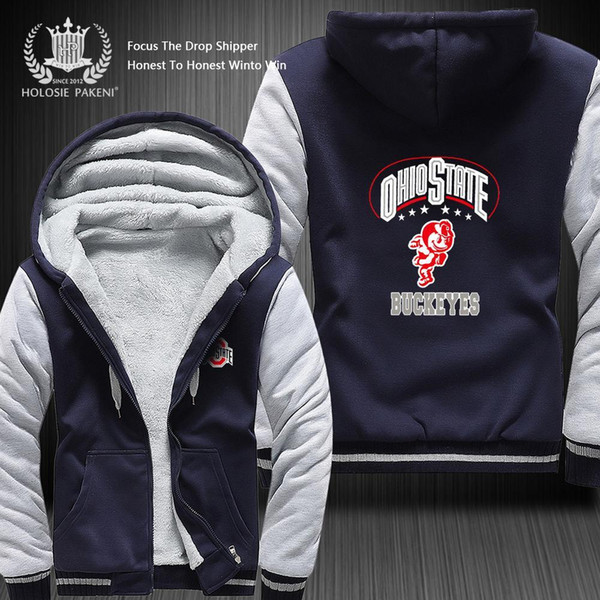 Dropshipping Big-ten Team Ohio State Buckeyes Men Women Winter Thicken Fleece Coat Hooded Zipper Sweatshirt Jacket Costume Made