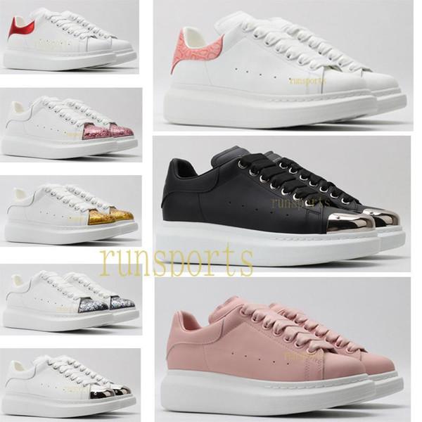 Tasarımcı eğitmenler Yansıtıcı 3M üçlü beyaz siyah deri platfrom artış gündelik düz ayakkabılar quality sneakers2edc # McQueens