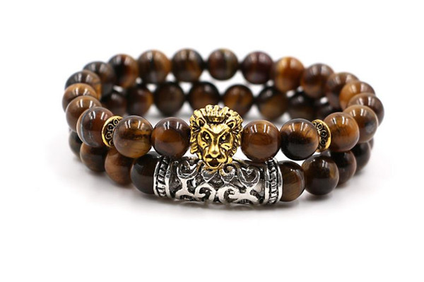 European and American foreign trade jewelry lion head natural weathered agate volcanic stone round bead bracelet set
