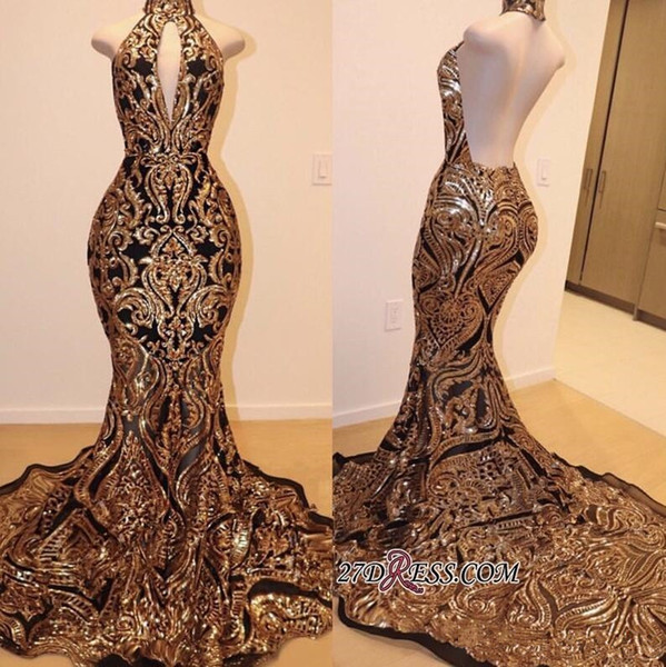 Sparkly Gold black Sequins Applique prom dresses 2019 V-neck Sweep Train Luxury African Mermaid Occasion Evening Cocktail Wear Gown