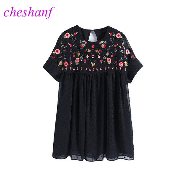 Cheshanf Loose Black Floral Chiffon Embroidery Playsuits Women 2019 Embroidered Backless Summer Short Jumpsuit Hollow Out New Y19060501