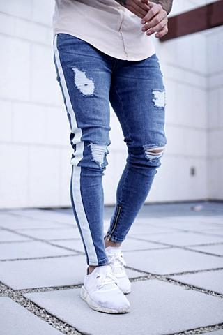 Jeans para homens Longo 2020 Moda Primavera Buraco de Homens Ripped Jeans slim Skinny Calças Lápis Hiphop Calças roupa