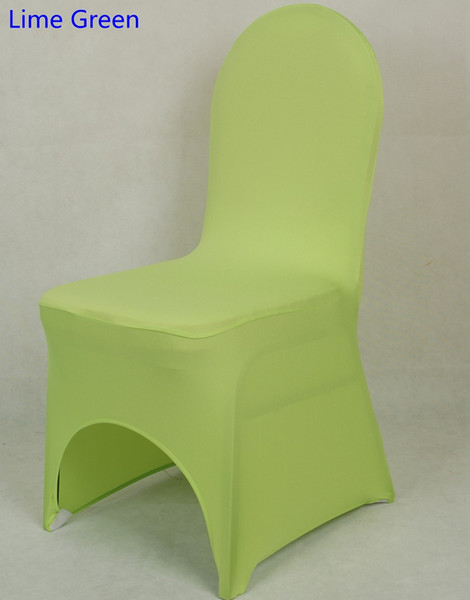 Lime green colour lycra universal chair cover for wedding decoration spandex chair cover on sale banquet chair arch front open