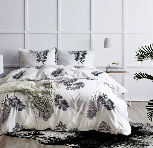 Black White Bed Cover Set 2/3pcs Green Gold Palm Leaves Bedding Set Twin Queen King Size Pastoral Bed Linen Quilt Cover No Sheet
