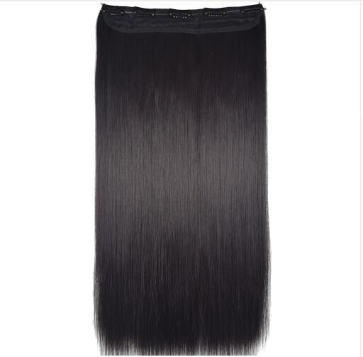 "Heat Resistant B5 Synthetic Fiber 24"" 60cm 120gr Straight 5 clips on Hairpieces clip in hair Extensions 90 colors available"