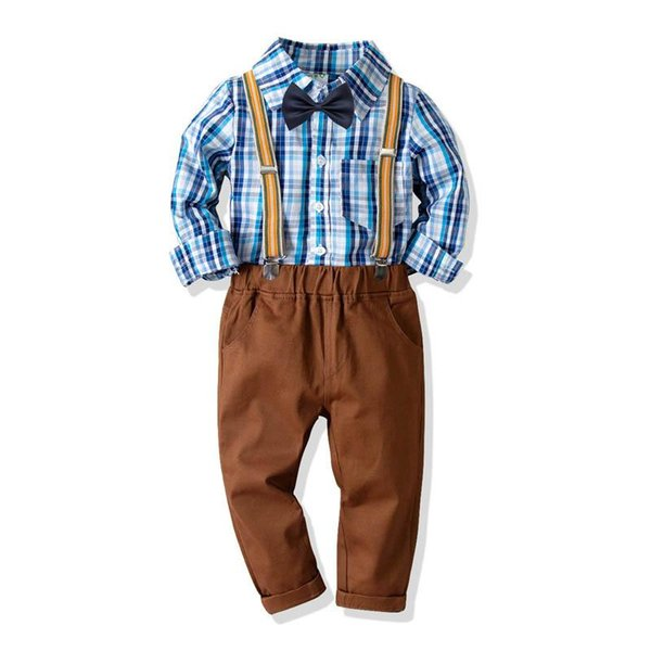 New boys clothing kids designer clothes boy casual Suits Kids Outfits long sleeve shirt+ Boys Suspenders boys sets kids clothes A2742