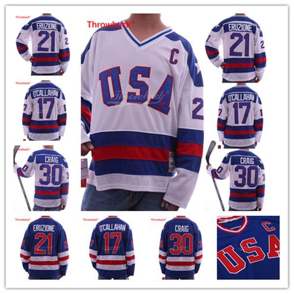 1980 Miracle On Ice Team USA 30 Jim Craig Jersey 17 Jack O'Callahan 21 Mike Eruzione Blue White Stitched Hockey jerseys