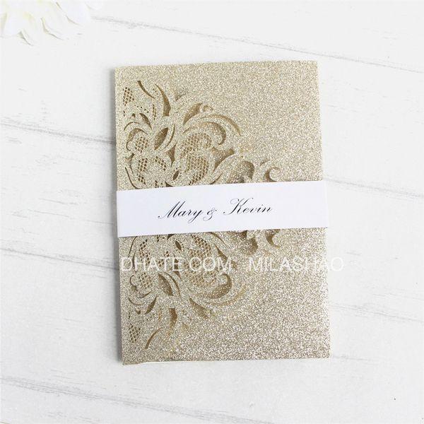 Großhandel Glitzernde Goldene Einladung Zur Hochzeit Mit Dreifach Gefalteter Anniversaire Luxusblumentasche Mit Bauchband Und Personalisiertem Druck