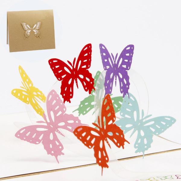 Compre Tridimensional Diy Papel Hecho A Mano Invitación De Año Nuevo Multifunción 3d Mariposa Feliz Cumpleaños Tarjeta Postal Tarjeta De Felicitación