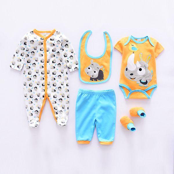 Newborn Baby 5 pieces Set Cloth Pant Bibs Shoes Suit spring long Sleeve Colors Mixed size Jumpsuit Cute Romper 100% Cotton
