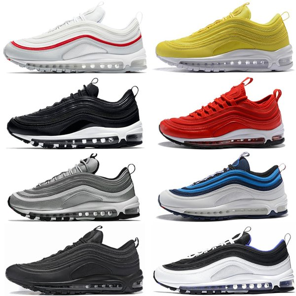 Acheter Nike Air Max 97 Marque Chaussures De Course Hommes Femmes Triple Noir South Beach Pull Tab Argent Balle Designer Chaussures Sport Sneakers 36