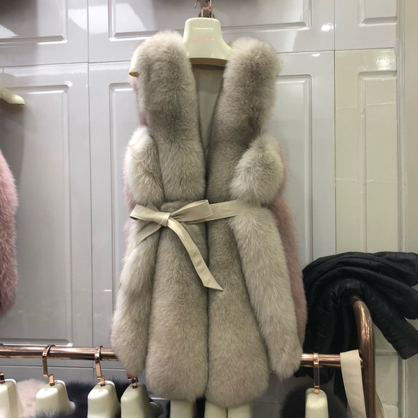 Cool 2019 really maomajia long fund overcoat the whole kin fox wool belt haining leather and fur